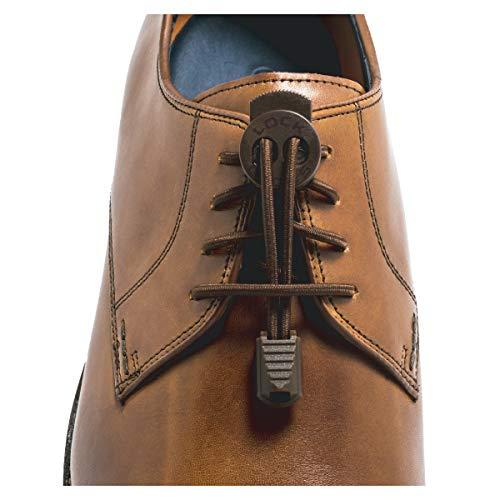LOCK LACES Premium Elastic No Tie Shoelaces For Dress Shoes (Brown)