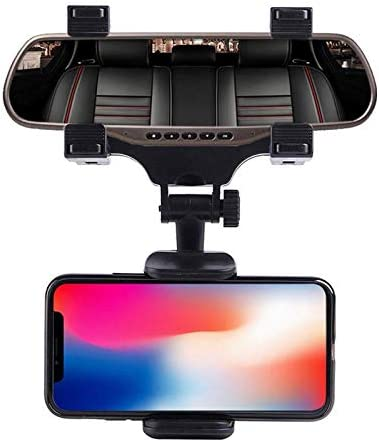 GTGEveryday Car Rear View Mirror Phone Holder Mount Universal Smartphone Cradle Compatible to iPhone 11 Pro Xr Xs Max X 7 8 12 Plus Note 10 9 Galaxy S20 S20+ 5G S10 S9 S8 Google Pixel GPS