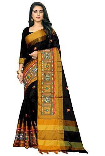 VintFlea Indischer Damen-Sari aus Baumwolle und Seide, ohne Nähte Gr. One size, Schwarz