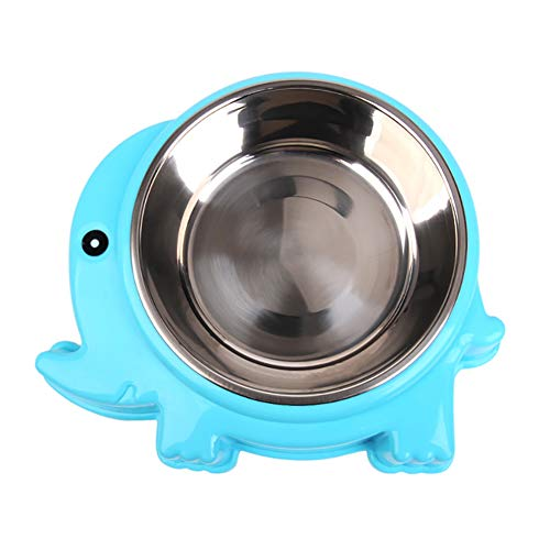 Lai-LYQ Krab Olifant Vorm Huisdier Bowl Voedsel Water Container RVS Hond Kattenvoer - Blauw S Olifant