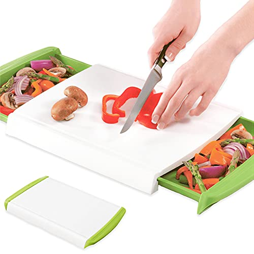 Bugucat Schneidebretter Kunststoff mit 2 Auffangschalen, Frühstücksbrettchen Hackbretter Antibakteriell Küchenbrett mit Saftrille, Brotbrett Cutting Board für Fleisch Gemüse Obst, Spülmaschinenfest