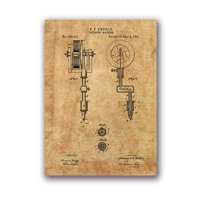 Die erste Tattoo-Maschine druckt Tattoo Wohnzimmer Wandkunst Leinwand Malerei Poster Dekoration 13x18cm