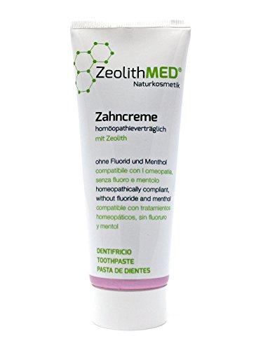 ZeolithMED Naturkosmetik Zahncreme, Zahnpasta Homöopathieverträglich 75ml, Natürlicher Wirkstoffkomplex, Ohne Fluorid, Mentholfrei