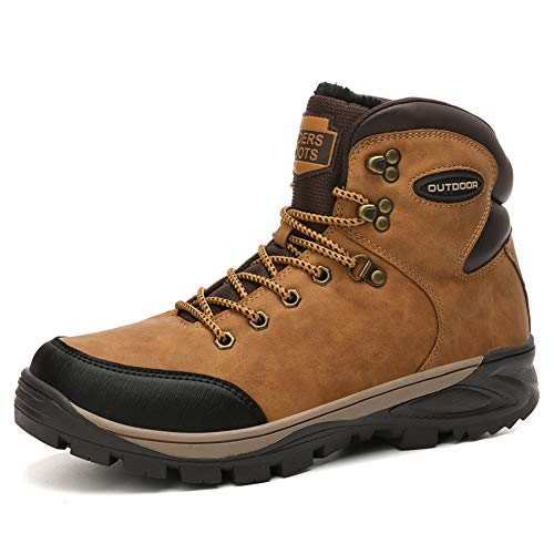 walking boots Mens Snow Boots Waterproof Hiking Boots Outdoor Ankle Boots Non Slip Fur Lined Walking Outdoor Shoes