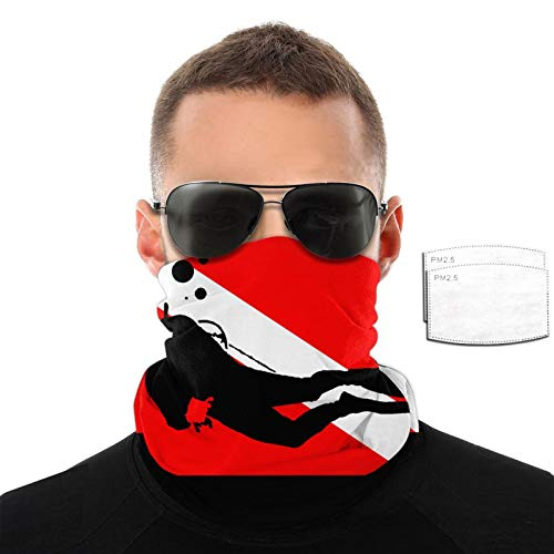 Ramwans Diving Flag Scuba Divers Mission Cooling Neck Gaiter With Filter Elastic Unisex Scarf,Bandana,Balaclava,Headband For Men And Women