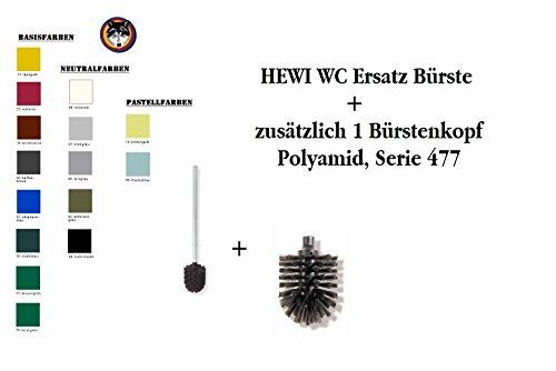 HEWI Ersatzbürste mit Stiel Farbe Tiefschwarz WC Bürste + 1 Ersatzbürstenkopf