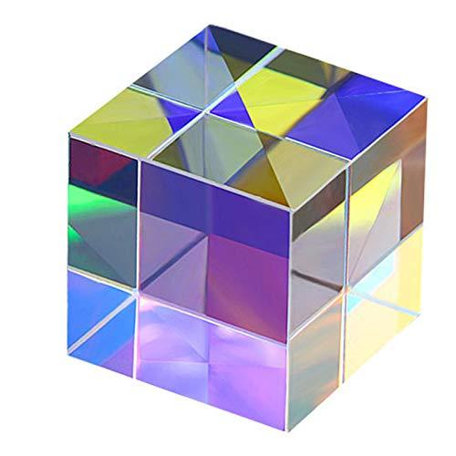 KRISWU Optische Glaswürfel Prisma RGB Dispersion Prisma für Physik Lichtspektrum Bildung Modell Outdoor Fotografie Requisiten Dekoration