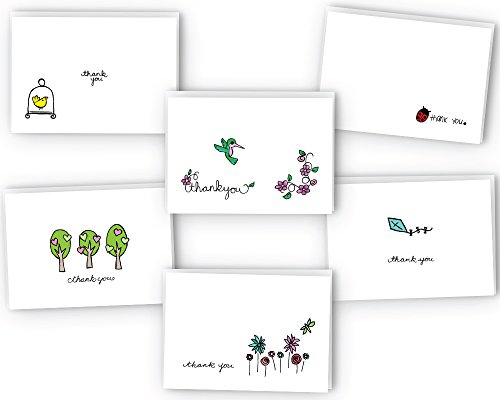 Spring Thank You Note Cards Assortment - 24 Thank You Cards with Envelopes - 100% Recycled Blank Inside