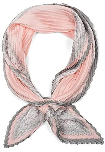 styleBREAKER Pañuelo plisado para mujer, de un solo color, con estampado de puntos en el borde, asimétrico, pañuelo para el cuello, pañuelo para la cabeza 01016210 Rosa Talla única
