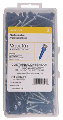 Le groupe Hillman 370351 Plastique kit d'ancrage Numéro 10–12 Vis et foret, 1-pack