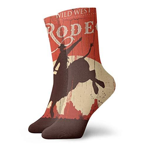 Vintage Cowboy Riding Bull Kaktus Herren Damen Crew Socken Strumpf Wandern Leichte Cool Komfort Socken geeignet für alle Aktivitäten bei jedem Wetter