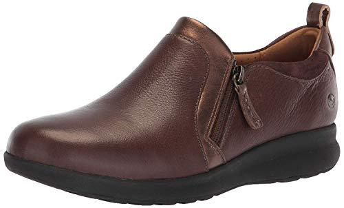 Clarks womens Un Adorn Zip Sneaker, Dark Brown Leather/ Suede Combi, 7.5 US