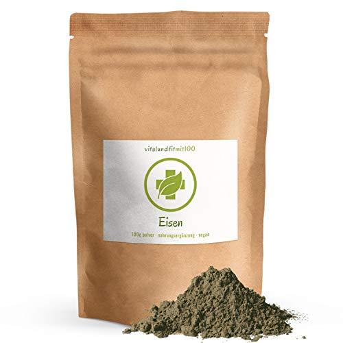 Eisen Pulver - 100 g - Eisenbisglycinat - auch als'Blut-Mineral' bekannt - in geprüfter Qualität - 100% vegan & rein - glutenfrei, laktosefrei - OHNE Hilfs- u. Zusatzstoffe