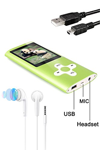 Tabmart MP3 MP4 Musik Player Inklusiv 16 GB MicroSD Unterstützung Audio Player Media Player FM Radio E-Books Integrierter Lautsprecher Lange Akkulaufzeit 1,81 Zoll Farbdisplay Musik Player Grün