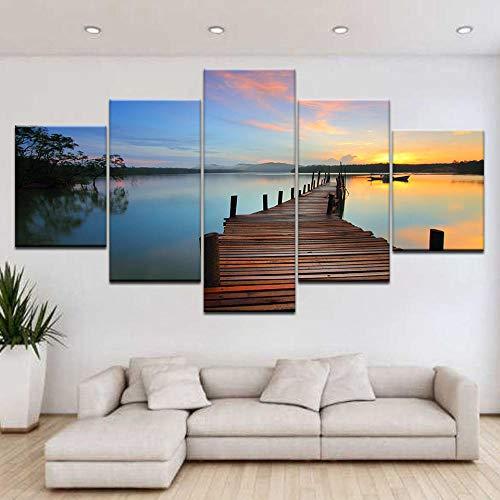 eternity-5 platen/stuks Hd Print Sunrise Blue Sea houten brug landschap druk canvas kunst schilderij voor thuis woonkamer decoratie