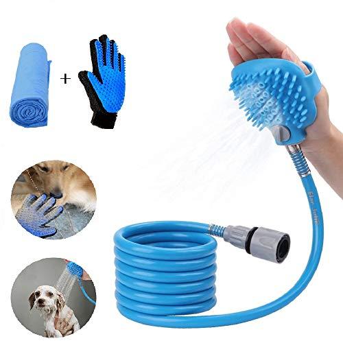 Herramienta de baño para mascotas, pulverizador de ducha perro gato con guante de aseo izquierdo y toalla como regalos, para uso en interiores y exteriores