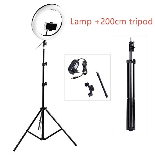 Fotografie LED selfie Ring Light, 14inch 336 Beads Dimbare Camera Phone Ring Lamp met 200cm Stand Statief voor Make-up Video Levende