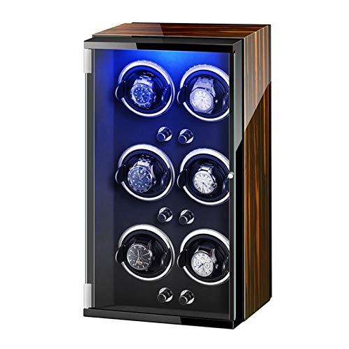 Cajón para Guardar Relojes y Joyas Reloj automático Caja de enrollador con Luces de Colores Piano Pintura Exterior Ajustable RELOJA ALMOWS Adaptador DE CA Estuche de Almacenamiento de Lujo