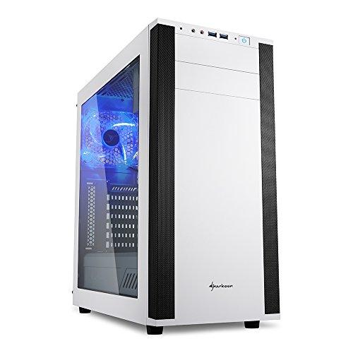 Sharkoon M25-W - Caja de Ordenador, PC Gaming, Semitorre ATX, Acrílico, Blanco