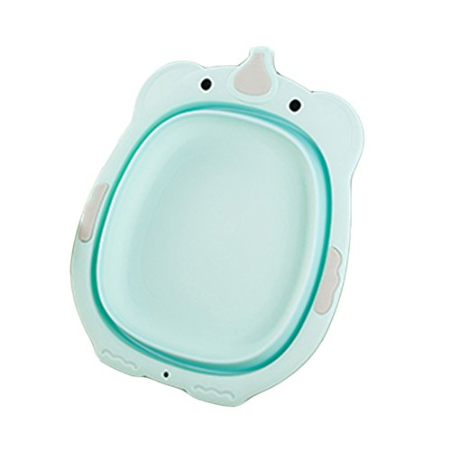 SANGDA baby wastafel, opvouwbare cartoon dier kleine wastafel inklapbare badje inklapbare kom draagbare wastafel voor baby kinderen baby's meisjes (blauw)
