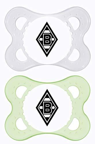MAM Football Schnuller im 2er-Set, Original Schnuller im Fan Design von Borussia Mönchengladbach, zahnfreundlicher Baby Schnuller aus MAM SkinSoft Silikon, 0-6 Monate