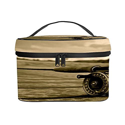 CIKYOWAY PU Kosmetiktasch,Angelruten Vintage Gelb,Tragbare Wasserdicht Makeup Tasche Organizer Kulturtasche mit,Tragegriff 25×18×15cm