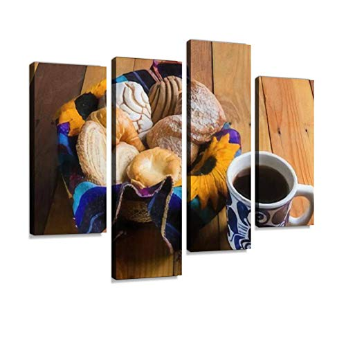 Mexican Sweet Bread and Coffee Canvas Wall Art Hanging Paintings Modern Artwork Abstract Picture Prints Home Decoration Gift Unique Designed Framed 4 Panel