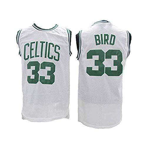Herren Basketball Trikot Larry Bird # 33-Boston Celtics Cool Breathable Stoff Neu Bestickt Retro All-Star Jersey Sport Top Gr. M, weiß