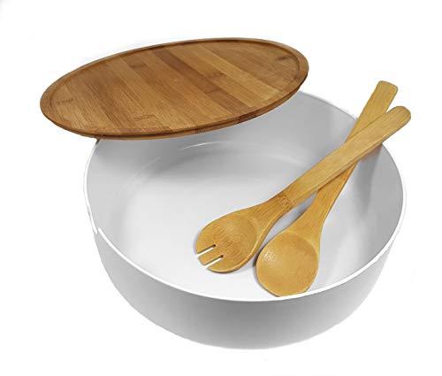 Spetebo XXL Kunststoff Salatschüssel mit Holz Besteck und Deckel - 30x10 cm - Servier Schüssel Bambus Schale