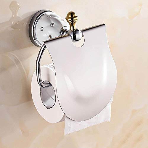 portarrollos baño El oro papel higiénico titular con el diamante Portarrollos sostenedor del tejido de latón macizo Cuarto de baño Accesorios Productos de papel percha Rose_gold Soporte para papel hi