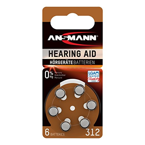 ANSMANN Hörgerätebatterien 312 braun 6 Stück - Zink Luft Hörgeräte Batterien Typ 312 P312 ZL3 PR41 mit 1,4V - Knopfzelle mit besonders langer Laufzeit für Hörgerät Hörverstärker & Hörhilfe