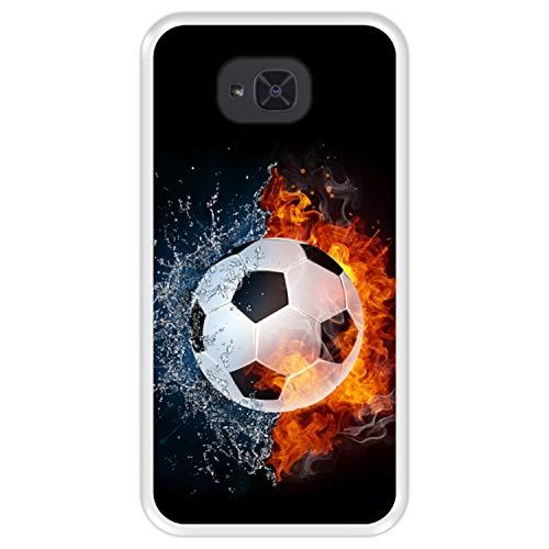 Hapdey silikon Hülle für [ Bq Aquaris U2 - U2 Lite ] Design [ Feuer & Wasser, Fußball ] Transparenz Flexibles TPU
