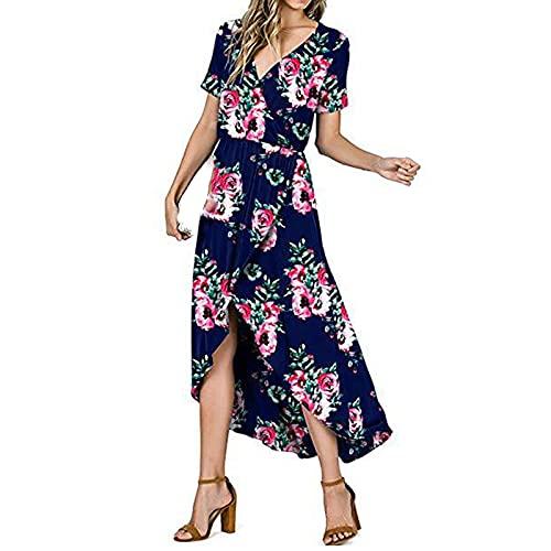 Sommerkleid Damen Lang Maxikleider für Damen Elegant Boho Abendkleid Sexy V-Ausschnitt Hoher Split Strandkleid Sommer Kurzarm A-line Cocktailkleid Lang Kleider mit Schlitz