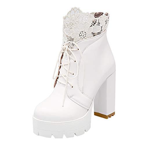 MISSUIT Damen Chunky Heels Ankle Boots mit Schnürung und Spitze Blockabsatz Plateau High Heels Stiefeletten Reißverschluss Hinten(Weiß,40)