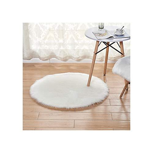 LOKKSI Alfombra de piel sintética de piel de oveja redonda gris mullida, alfombra rosa para dormitorio de niños, alfombra redonda gris para niños (30 x 30 cm)