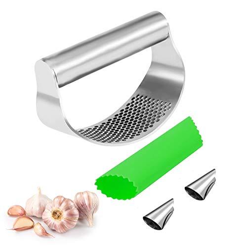 kitchen knoblauchpresse, knoblauch crusher, knoblauchpresse set, knoblauchpresse wippe, garlic press knoblauchschneider, edelstahl, sicher und gesund, leicht zu reinigen (Silber)