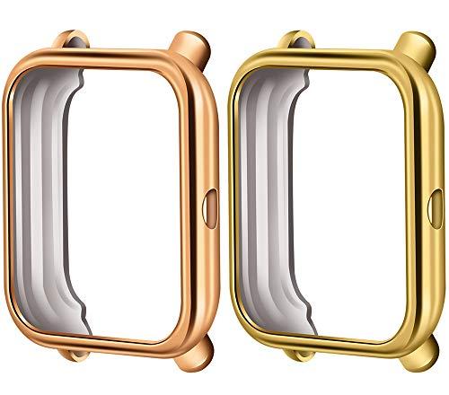 Cytech Funda para Xiaomi Huami Amazfit Bip Protector de Pantalla, 2 Piezas Funda de Suave TPU Cubierta Cover Case (Oro/Oro Rosa)