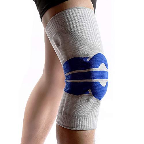 Atmungsaktives Knie Kompressionskissen, rutschfeste Knieorthese, Linderung von Gelenkschmerzen, Arthritis, Bandverletzung, Knieorthese für Männer und Frauen Beim Laufen/Gehen, Single (L)