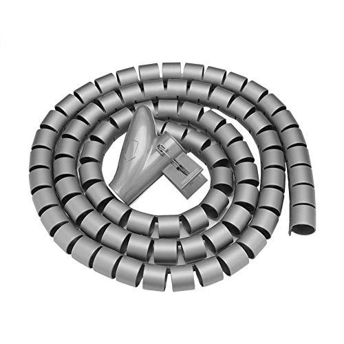 Bewinner Flexible Spiral Tubing Cable Organizer Wire Wrap Cord Protector Wire storage tube Spiraalwikkelbuis met clip voor het organiseren en beschermen van de bedrading (zilver 1,5 m * 16 mm)