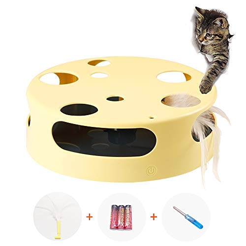 Mylopet Cat Toys for Indoor Cats, Interactive Automatic Kitten Toy Pet Toy, Smart Random Rotating Cat Feather Toy, Develops Natural Prey Instincts, Novelty Cats Toy Yellow