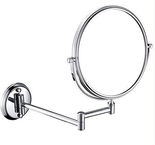 GJX Espejo Maquillaje Montado en la Pared de baño Espejo for afeitarse, 360 Giratorio y Extensible del Brazo un Aumento de 10x de Doble Cara Redonda giratoria Vanidad Espejo de 8 Pulgadas