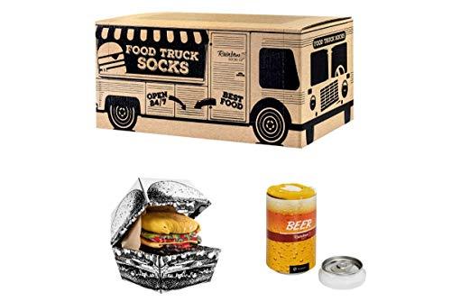 Rainbow Socks - Damen Herren Lustige Food Truck Box Geschenk- 3 Paar - Burger Bier - Größen 41-46