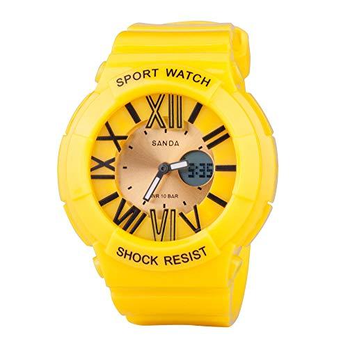 SANDA Reloj Mujer,Multi-Dobles Deportes Pantalla Luminosa Alpinismo de Reloj de los niños del Estudiante de Mujeres-Amarillo