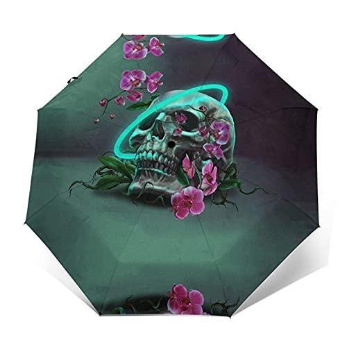 fepeng Paraguas automático de tres pliegues unisex impreso paraguas manual paraguas paraguas portátil, Calavera orquídea neón, Taille unique