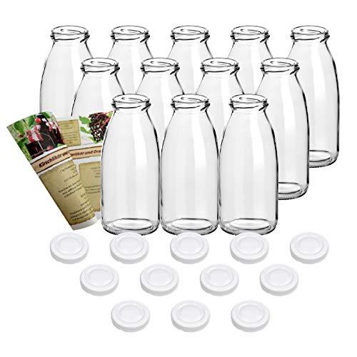 guoveo - 12 Botellas de Zumo de 250 ml con tapón de Rosca Blanco, Botellas de Vidrio vacías