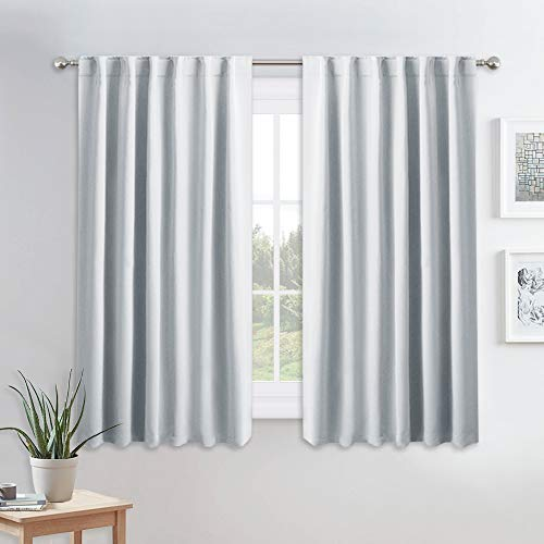 PONY DANCE Room Darkening Curtains - Thermal Insulated Light Block Curtain Drapes with Back Tab Energy Saving for Kitchen, 52 Wide x 54 Long, Greyish White, 2 Pieces