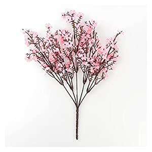 YSDSPTG Artificial Flowers Silk Gypsophila Artificial Flowers for Home Decoration Home Plastic Stem Bride Wedding Bouquet Mariage Cherry Blossom Fake Flower DIY (Farbe : Pink)