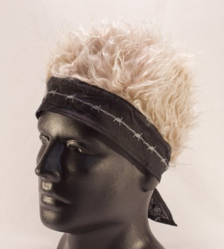 Black Barbed Wire Bandana With Blonde Hair