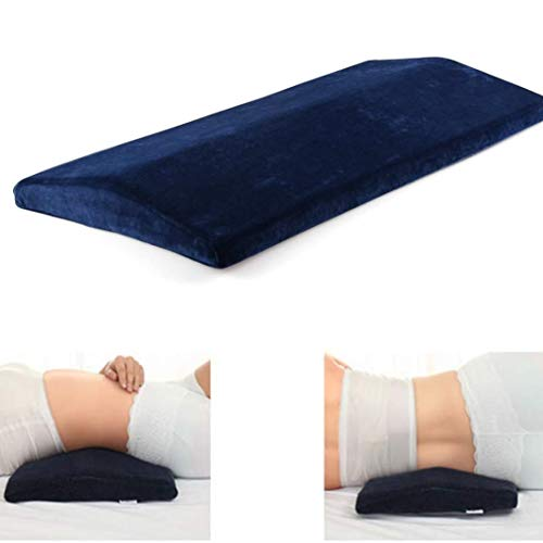 Aoligei Memory Foam Back Support Cushion, Lumbar Support Pillow, Waist support sleeping pillow for Back Pain/Maternity/Pregnancy, Bed Sleep Wedge Pillow with Zipper Cover (Blue)