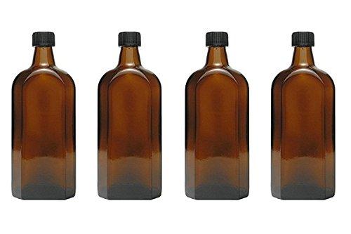 mikken - 4 Medizinflasche in Braunglas Apothekerflaschen inkl. Etiketten a 4X 500ml Schwarz